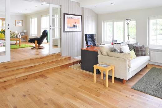 New laminate flooring in living room of home