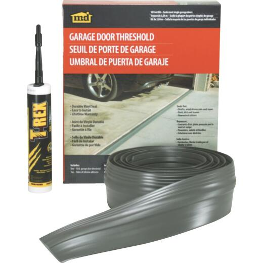 M-D 3-1/2 In. x 10 Ft. Gray Vinyl Threshold Garage Door Seal Kit