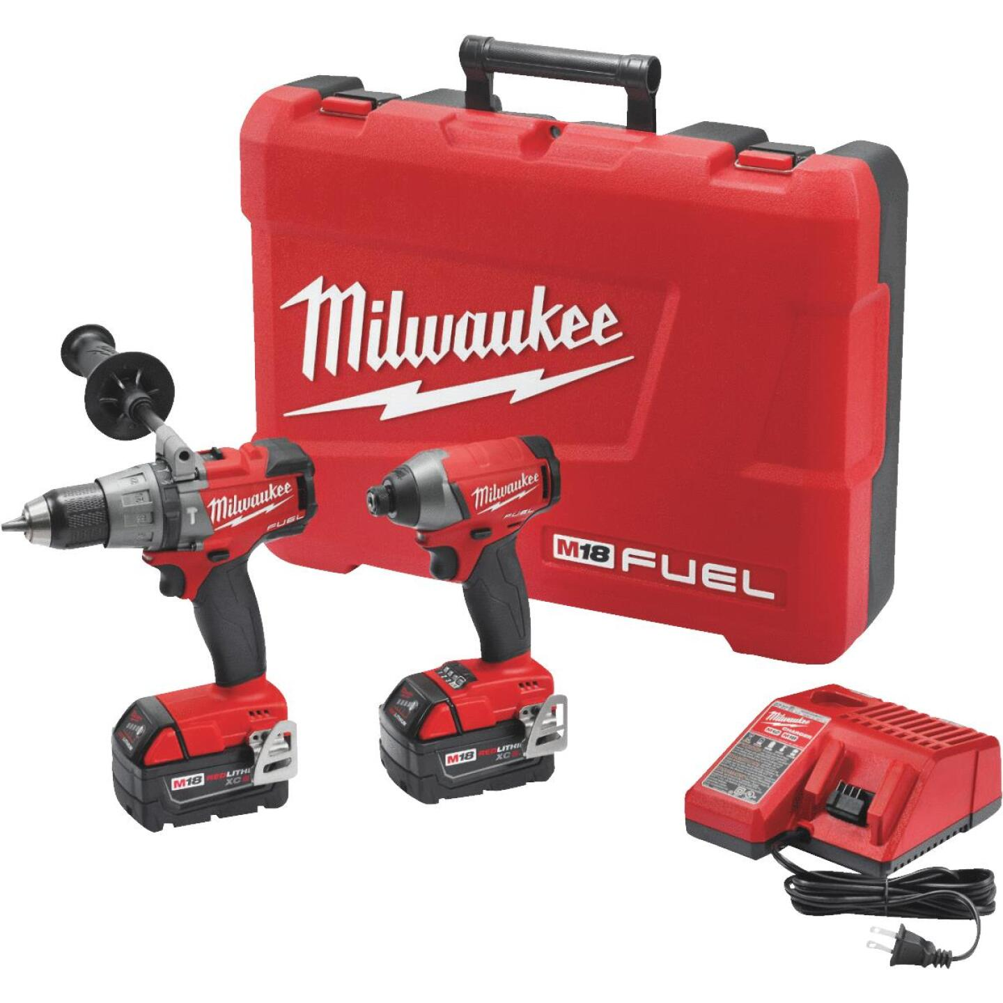 Milwaukee 2-Tool M18 FUEL Lithium-Ion Brushless Hammer Drill & Impact Driver Cordless Tool Combo Kit Image 1