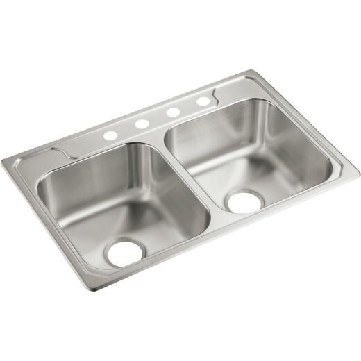 Sterling Middleton Double Bowl Sink 7 In. Deep Stainless Steel