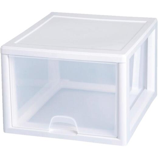 Sterilite 14 In. x 10.25 In. x 17 In. 27 Quart White Stackable Storage Drawer