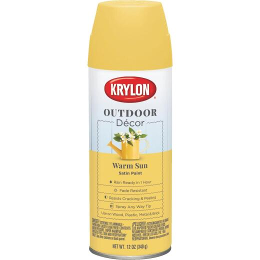 Krylon Outdoor Decor 12 Oz Satin Alkyd Spray Paint, Warm Sun