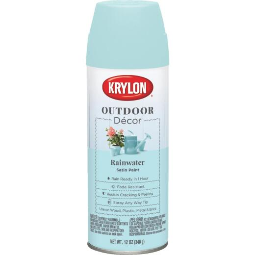 Krylon Outdoor Decor 12 Oz Satin Alkyd Spray Paint, Rainwater