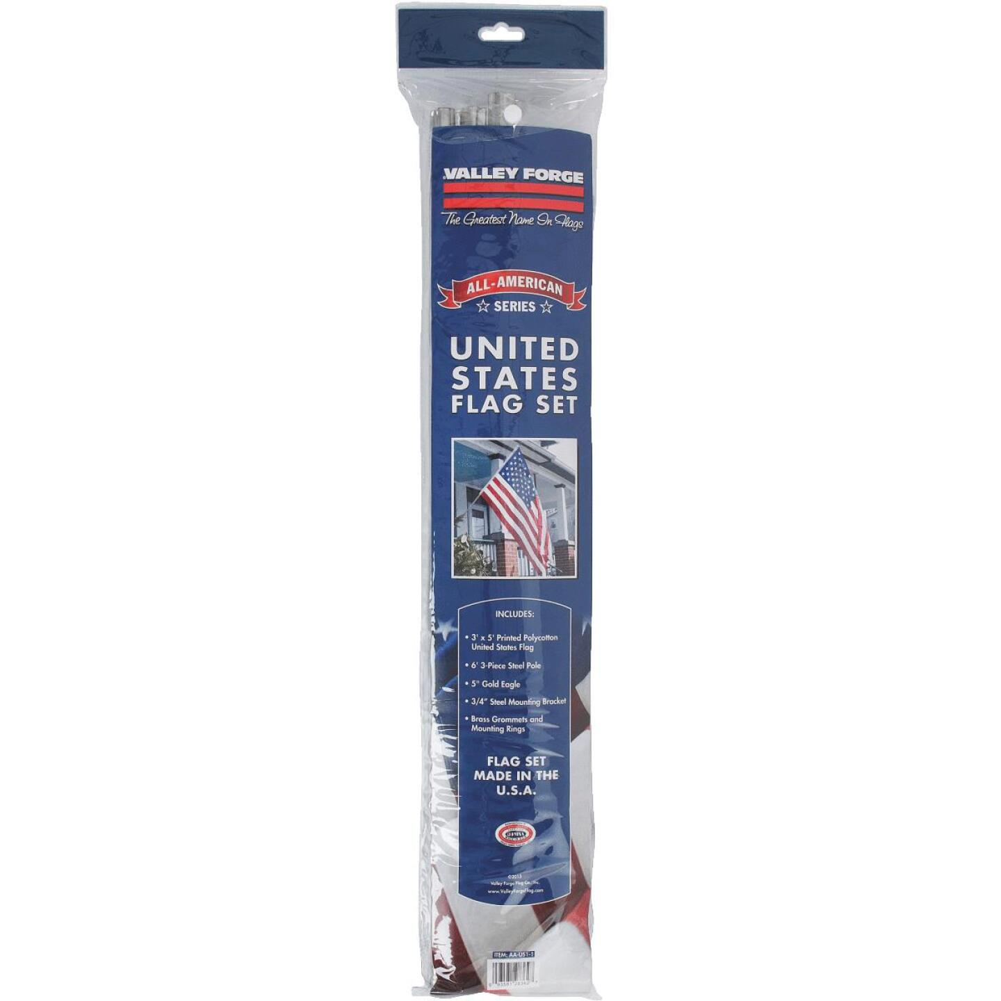Valley Forge 3 Ft. x 5 Ft. Polycotton American Flag & 6 Ft. Pole Kit Image 2